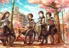 "Tags:     ""bike"" ""braids"" ""brown eyes"" ""brown hair"" ""group"" ""happy"" ""hat"" ""kimono"" ""long hair"" ""megane"" ""sakura"" ""seifuku"" ""short hair"" ""sky"" ""tree"" ""twin tails"" ""uniform"" ""vehicle"" ""^_^""  Artist:     ""Fuzi Choko"""