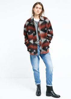 Abrigo cocoon lana