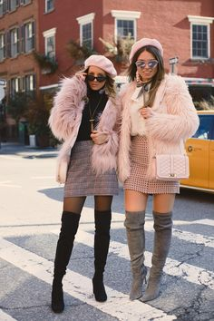10 looks estilosos com casaco de pelo, Adrette Outfits, Paris Outfits, Girly Outfits, Fall Outfits, Casual Outfits, Beret Outfit, Fur Coat Outfit, K Fashion, Winter Fashion