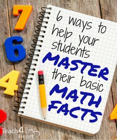 6 Ways to Help Your Students Master their Math Facts - Teach 4 the Heart - get a free of rapid calculation mental math practice cards Math Teacher, Math Classroom, Teaching Math, Teaching Ideas, Kindergarten Math, Teaching Multiplication Facts, Abc Learning, Multiplication Tables, Multiplication Strategies