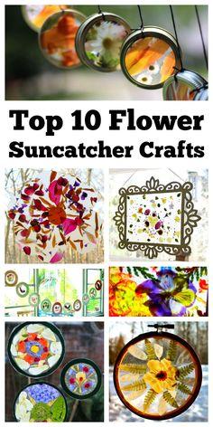 Top 10 Flower Suncatcher Crafts via @rhythmsofplay                                                                                                                                                                                 More