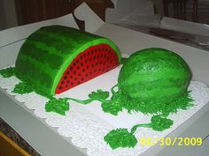 Watermelons On Vine Watermelons On Vine The cut watermelon is a watermelon flavored cake made with real watermelon. The small cake is a chocolate diabetic cake... #top-cakes #watermelon #cakecentral