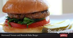 Just look at this sausage #burger with tomato and broccoli rabe. Hungry yet?  #food #foodie #burger #sausage #grilling #tomato #broccolirabe