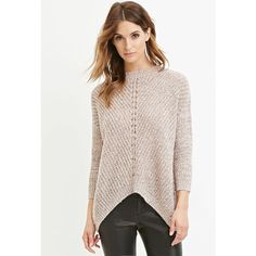 Love 21 Women's  Contemporary Marled Knit Sweater ($25) ❤ liked on Polyvore featuring tops, sweaters, lightweight sweaters, over sized sweaters, marled sweater, pink knit sweater and pink top