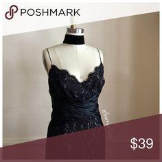 • Anne Klein Black Lace Dress • NWT • Beautiful Form Fitting Dress • Mauve Lining • Black Lace • Satin Cinch Waist Detail • Side Zipper • Chest 38 • Waist 34 • Length 38 Anne Klein Dresses Midi