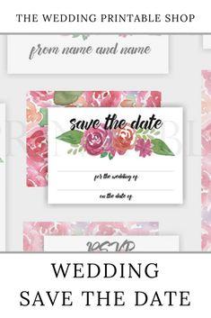 Pink Floral Wedding Save the Date Printable Handmade Wedding, Diy Wedding, Wedding Day, Stationery Design, Wedding Stationery, Floral Wedding Save The Dates, Wedding Printable, Printable Designs, Botanical Prints