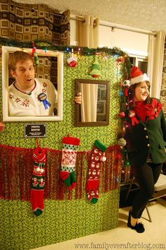 Ugly Sweater Party Ideas} How to Build a Photo Booth. Don't forget to bring your Ugly Sweater Party backdrop with you to your party at The Clubs of Kingwood! Tacky Christmas Party, Christmas Photo Booth, Tacky Christmas Sweater, Christmas Party Themes, Ugly Sweater Party, Office Christmas, Xmas Party, Christmas Photos, Holiday Fun