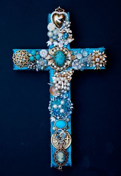 Vintage Jewelry Wall Cross  Turquoise Ivory & by OffTheWallCrosses, $105.00