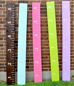 Custom Growth Ruler/Chart- Solid wood with Engraved Lines and Numbers. $50.00, via Etsy.