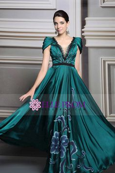 2015 Venice Style Prom Dress  V-Neck A-Line Cap Sleeve #31246 (Color Just As Picture Show)