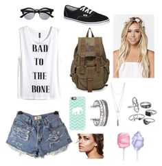 """""""Cute and Affordable Summer Outfit (Possibley Back to School)"""" by daylenbrewerr on Polyvore featuring H&M, Vans, With Love From CA, Casetify, Mudd and Cotton Candy"""