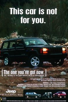 This car is not for you. So bring it in and leave with a Cherokee. 2001 Jeep Cherokee, Jeep Cherokee Sport, Jeep Wave, Jeep Xj, 4x4, Vw Bugs, Offroad, Advertising, Trucks