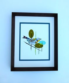 Eames Inspired Bird Painting Mid Century Modern by COLBYandFRIENDS, $60.00