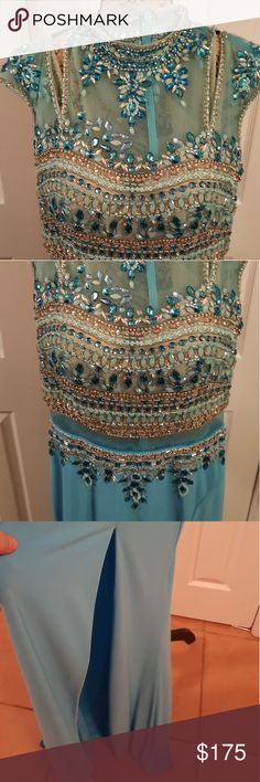 Panoply Jeweled Evening Gown Gorgeous Gem Turquoise Slit Gown Never Worn Dresses Prom