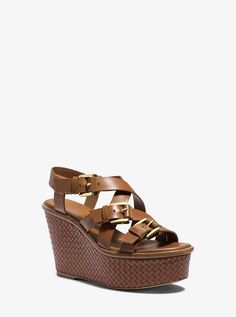a8b701f09c13 Michael Kors Collection Varick Leather Platform Wedge - Luggage Wedge  Sandals Michael Kors Collection