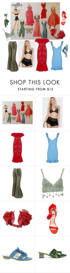 """""""Dressing Miss Ruffles"""" by alexxa-b ❤ liked on Polyvore featuring Nasty Gal, Notte by Marchesa, Rebecca Vallance, Sans Souci, Rosie Assoulin, Junya Watanabe, MSGM, LifeStride, Rue St. and ruffles"""