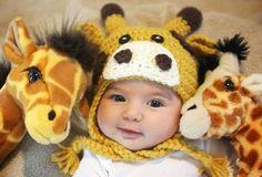 Crochet Giraffe Hat Pattern - Repeat Crafter Me Crochet Hippo, Crochet Animal Hats, Crochet Baby Hats, Cute Crochet, Giraffe Stuffed Animal, Stuffed Animals, Giraffe Toy, Kids Hats, Crochet Patterns