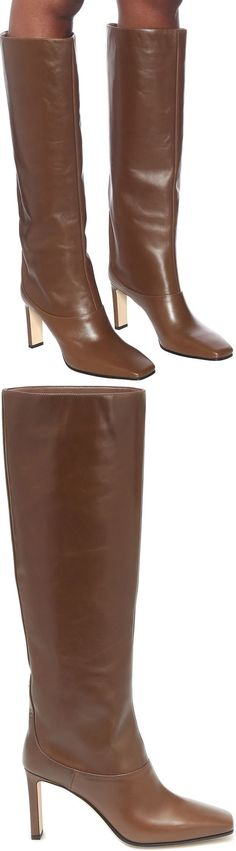 These brown Mahesa knee-high boots from Jimmy Choo are a sleek and sophisticated winter investment. Made from buttery leather that will gradually build character through wear, this slop-on pair has square toes and slender 85mm block heels. The label's signature logo plaque subtly accents the heels in gold-tone metal.
