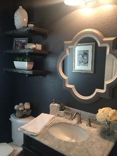 Sherwin Williams Peppercorn, powder room, restoration hardware DIY look alike shelves.