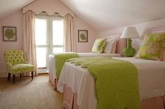 pale pink and lime green