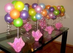 Balloon stick centerpieces for outdoor party so wind won't ...