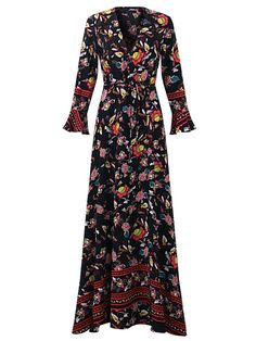 OEUVRE Bohemian Women V-Neck Floral Printed Tie-Waist Split Wrap Maxi Dress - Banggood Mobile