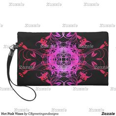 Hot Pink Vines Wristlet Purse