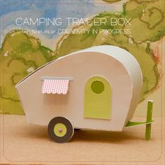 Hmmm… now looking at this camping trailer, it matches well with my Little Potato House logo. My 6 year old son loves to assemble this Camping Trailer box, and expecting me mak… Papel Glitter, 3d Templates, Lps, Diy And Crafts, Paper Crafts, Little Potatoes, Craft Kits, Craft Ideas, Paper Toys