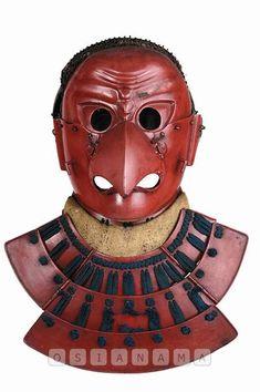 Karura Somen- Red Lacquered Mask Armor Clothing, Samurai Armor, Dark Elf, Irezumi, Diy Mask, Mask Design, Sewing Patterns Free, Armour, Japanese
