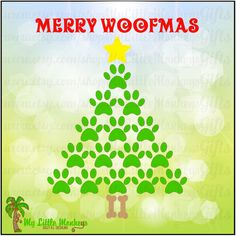 Merry Woofmas Paw Print Christmas Tree Digital Clipart Cut File Instant Download Full Color 300 dpi Jpeg, Png, SVG, EPS, DXF Files - pinned by pin4etsy.com