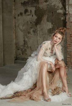 830e52cd3192 rara avis 2017 bridal long sleeves jewel neck ruffled bodice ruffled skirt  bohemian a line wedding