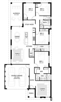 Winslet Floor Plan - The Winslet packs a lot into its design - you'll find four large bedrooms, two stylish bathrooms, spacious open living with study nook as well as home cinema and large undercover alfresco. 4 Bedroom House Plans, Dream House Plans, House Floor Plans, Rustic Shower Curtains, Study Nook, Storey Homes, House Blueprints, Display Homes, Suites