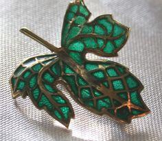 """20C --- Leaf brooch of green plique a jour enamel, in gold brooch mount --- 2.5 x 3 cm (1"""" x 1.25"""") ---- From eBay, seller inheritit, July 2014"""
