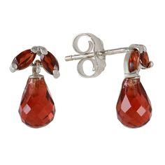 Ladies 14K White Gold High Principles Garnet Earrings