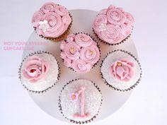 Pink Shabby Chic Baby's 1st Birthday Cupcakes