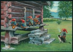 Gnomes on the porch. David The Gnome, Gnome Pictures, Norway Viking, Nordic Vikings, Kobold, Forest Creatures, Postcard Art, Fairy Land, Fairy Tales