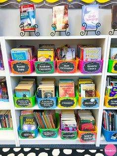 Colorful classroom library organization ideas from Lessons with Laughter Colorful organization solutions for setting up and maintaining your classroom library that allow students to easily access the books they want to read. Kindergarten Library, Class Library, Kids Library, Elementary Library, School Library Design, Library Ideas, Library Books, Library Organization, Organization Ideas
