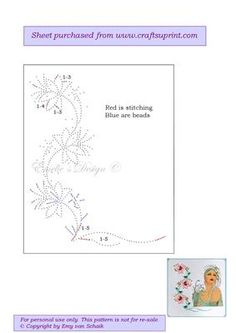 ED006 Flower border on Craftsuprint designed by Emy van Schaik - Stitching with beads - Now available for download!