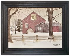 Pine Tree Quilt Block Barn by Billy Jacobs Red Barn Snow Snowing Winter Landscape Primitive Folk Art Print Framed Picture Billy Jacobs Prints, Barn Pictures, Scenery Pictures, Winter Pictures, Barn Quilt Patterns, Country Barns, Country Decor, Barn Art, Tree Quilt