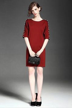 Knit Dress A-Line With Embroidered Detail Neckline: Round Pattern: Floral Embroidered Sleeve: Long Sleeve Length: Above Knee Daytime Dresses, Knit Dress, Trendy Fashion, Dresses For Work, Pearls, Detail, Bella, Long Sleeve, Sleeves
