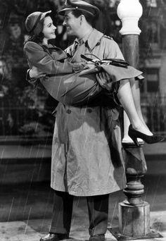 "Vivien Leigh and Robert Taylor in ""Waterloo Bridge"", 1940 added to my list of favorite old movies"