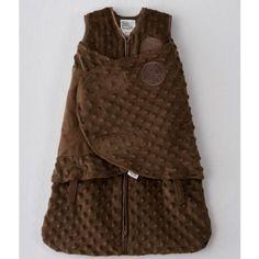 HALO SleepSack Plush Dot Velboa Swaddle, Chocolate, Newborn