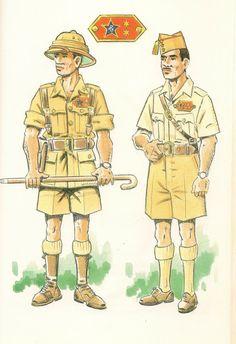 GUARDIA COLONIAL DEL GOLFO DE GUINEA,1935  Teniente en uniforme de campo - Capitan en uniforme de cuartel o campamento.