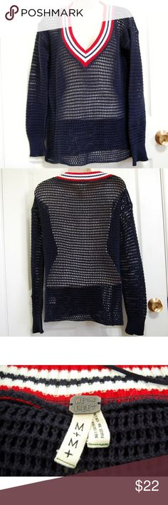 "We the free crochet red white blue mesh sweater We the Free Sweater  Color:  Red White Blue Sleeve: Long Sleeve Embellishment: Open knit style Size: M 100% Cotton Hand Wash Gently used condition. No stains or tears.  Length- 25""  Underarm to underarm doubled, laid flat-42""  Sleeve Length-23"" Free People Sweaters V-Necks"