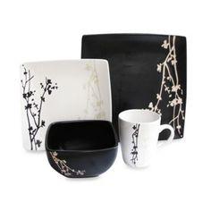American Atelier Blossom Branch 16-Piece Dinnerware Set in Brown/White - BedBathandBeyond.com