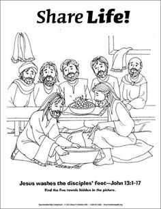 Share Life! Coloring Page - Jesus Washes the Disciples' Feet (Downloadable)