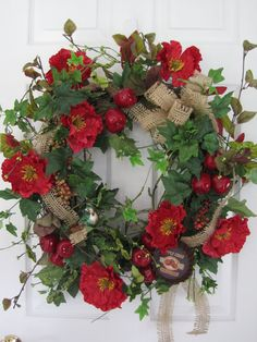 red white and blue floral wreaths Autumn Wreaths, Christmas Wreaths, Rustic Wreaths, Spring Wreaths, Easter Wreaths, Christmas Cards, Xmas, Poppy Wreath, Deco Nature