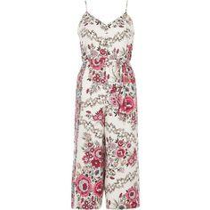 River Island Petite pink floral print culotte jumpsuit found on Polyvore featuring jumpsuits, dresses, pink, rompers/ jumpsuits, women, pink romper, tall jumpsuit, white floral romper, white romper and floral jumpsuit