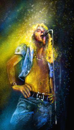 Colourful modern and vibrant portrait painting of the rock musician and singer Robert Plant from the band Led Zeppelin Robert Plant Led Zeppelin, Led Zeppelin Art, John Paul Jones, Jimmy Page, John Bonham, Music Painting, Art Music, Rock N Roll, Digital Foto