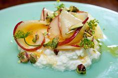 White Peaches, Pistachios, Honey, and Ricotta